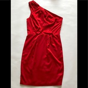 "The Limited Red ""satin"" One Shoulder Dress"